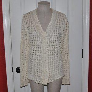 RALPH LAUREN Handknit Crochet V-Neck Sweater sz L